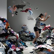 piles - clothes - tossing - square